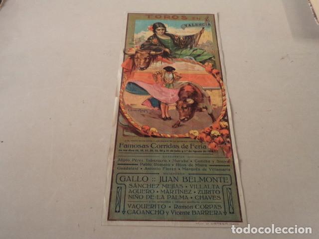 CARTEL TOROS EN VALENCIA AÑO 1926 - GALLO-JUAN BELMONTE… (Coleccionismo - Carteles Gran Formato - Carteles Toros)