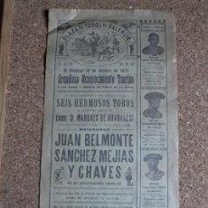Carteles Toros: CARTEL DE TOROS DE VALENCIA. 18 DE OCTUBRE DE 1925. JUAN BELMONTE, IGNACIO SÁNCHEZ MEJÍAS Y TAMARIT. Lote 146858162