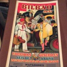 Carteles Toros: PINTOR ANTONIO DE GUEZALA ,CARTEL ORIGINAL DE TOROS DE LA PLAZA DE BILBAO AÑO DE 1931-43X21CM RARÍ. Lote 147014398