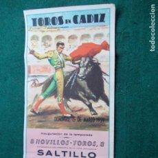 Carteles Toros: CARTEL DE TOROS EN CADIZ 15 MARZO DE 1959. Lote 147427754