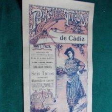 Carteles Toros: CARTEL DE TOROS EN CADIZ 11 JUNIO DE 1914 JULIO ORIGINAL MORENITO REGATERIN MANOLETE. Lote 147429454