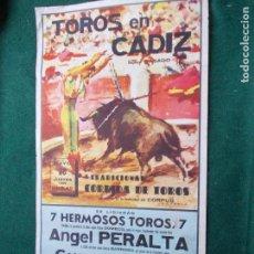 Carteles Toros: CARTEL DE TOROS EN CADIZ 28 DE MAYO DE 1959 ORIGINAL - PERALTA GIRON Y PUERTA. Lote 147429974