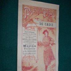 Carteles Toros: CARTEL DE TOROS EN CADIZ 7 DE JULIO DE 1912 ORIGINAL - JOJINO VILLARILLO Y BARQUERO. Lote 147430866
