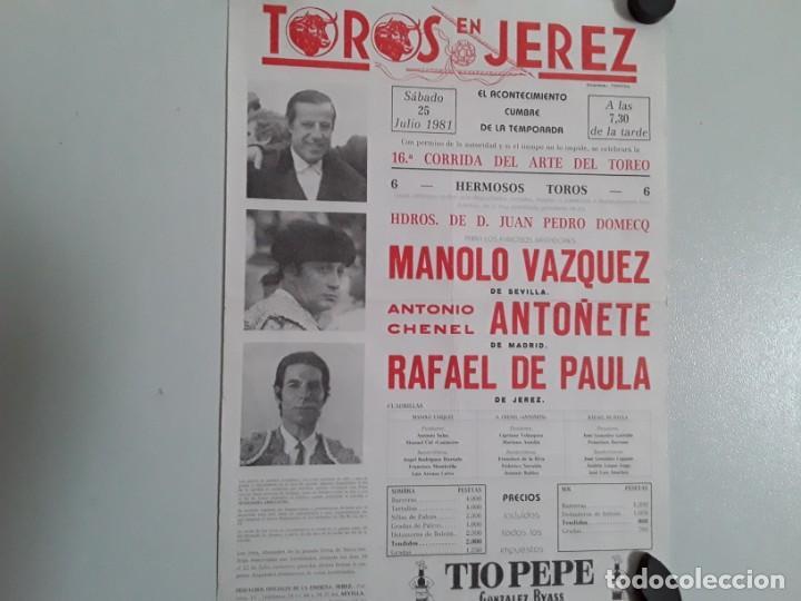 CÁRTEL DE LA PLAZA DE TOROS DE JEREZ DEL A AÑO 1981 ,16 CORRIDA DEL ARTE DEL TOREO (Coleccionismo - Carteles Gran Formato - Carteles Toros)