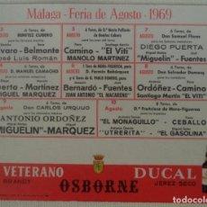 Carteles Toros: CARTEL O ALMANAQUE PLAZA DE TOROS DE MALAGA FERIA DE AGOSTO 1969. Lote 148516174