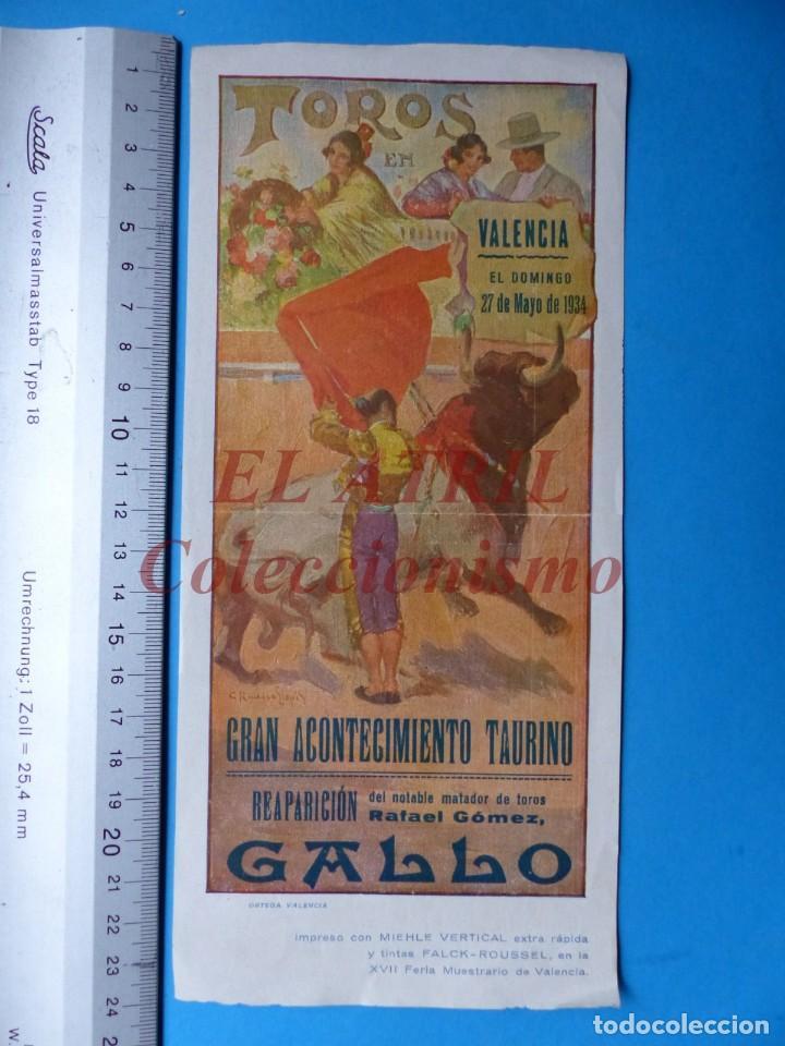 VALENCIA - CARTEL DE TOROS - REAPARICION DE RAFAEL GOMEZ EL GALLO - AÑO 1934 (Coleccionismo - Carteles Gran Formato - Carteles Toros)
