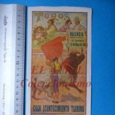 Carteles Toros: VALENCIA - CARTEL DE TOROS - REAPARICION DE RAFAEL GOMEZ EL GALLO - AÑO 1934. Lote 148722562