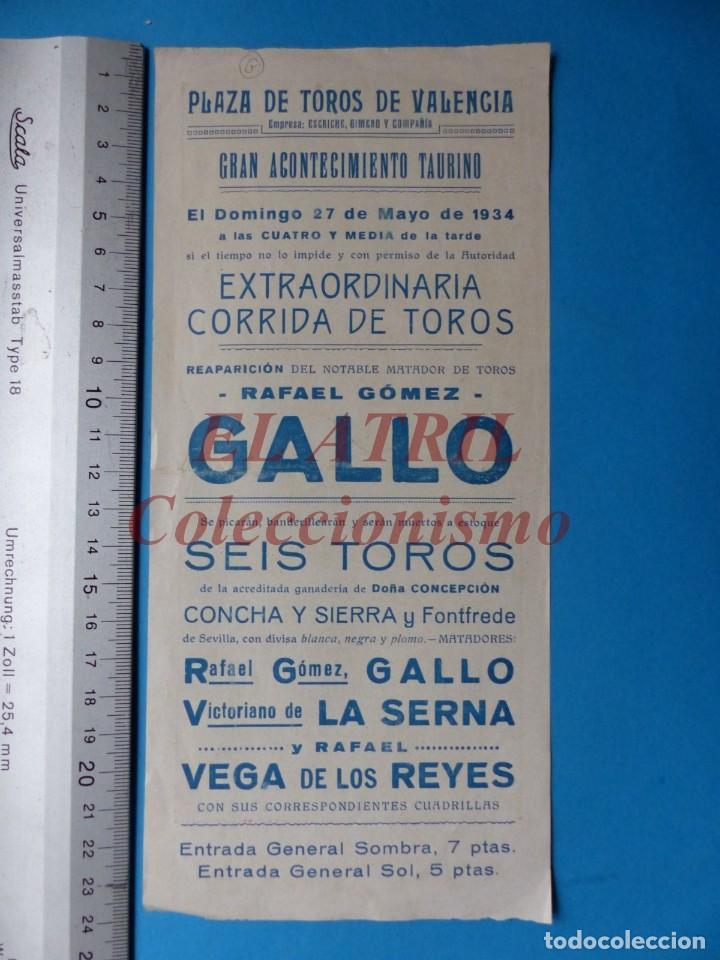Carteles Toros: VALENCIA - CARTEL DE TOROS - REAPARICION DE RAFAEL GOMEZ EL GALLO - AÑO 1934 - Foto 2 - 148722562