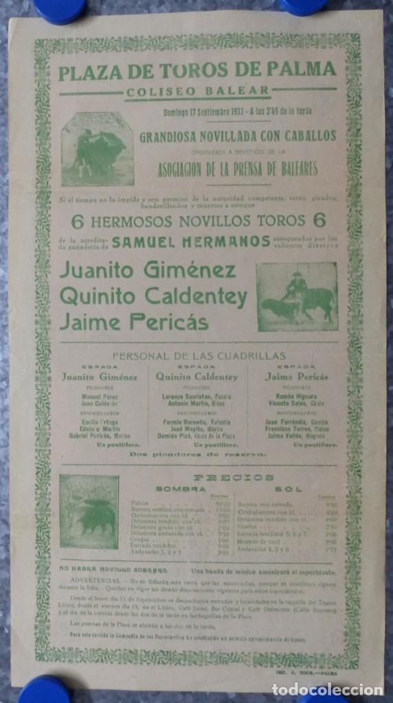 Carteles Toros: CARTEL TOROS PALMA DE MALLORCA - 17 DE SEPTIEMBRE DE 1933 - IMP. LIT. ORTEGA - RUANO LLOPIS - Foto 8 - 149116982