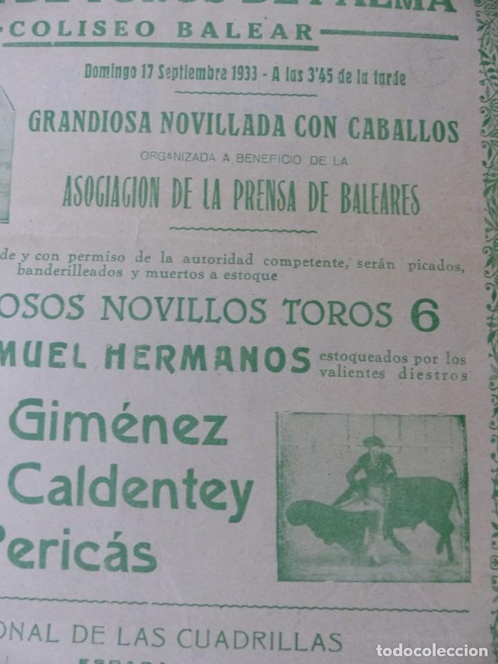 Carteles Toros: CARTEL TOROS PALMA DE MALLORCA - 17 DE SEPTIEMBRE DE 1933 - IMP. LIT. ORTEGA - RUANO LLOPIS - Foto 10 - 149116982