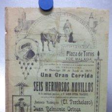 Carteles Toros: CARTEL TOROS MALAGA - 28 DE JUNIO DE 1914 - EL PECHELERO, JUAN BELMONTE, JOSE RODRIGUEZ DUEÑAS. Lote 149132326