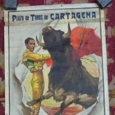 Carteles Toros: CARTEL PLAZA DE TOROS DE CARTAGENA 1958, ANTOÑETE, DIBUJO J. REUS. LITOGRAFIA ORTEGA. Lote 149947154