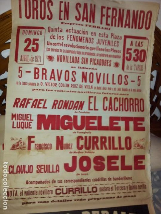 TOROS EN SAN FERNANDO NOVILLADA SIN P. 1971 GRN CARTEL MEDIDAS 70 X 210 (Coleccionismo - Carteles Gran Formato - Carteles Toros)