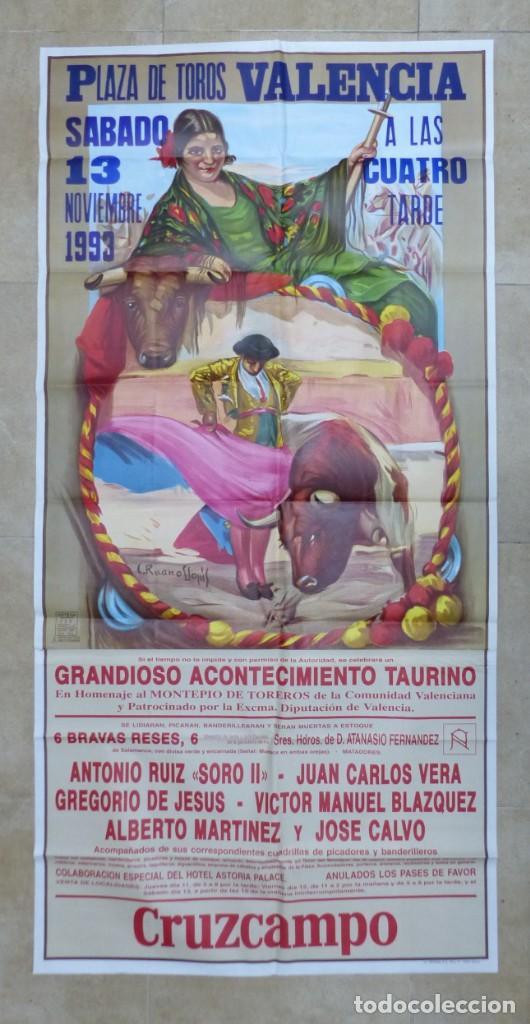 VALENCIA - BONITO CARTEL GRANDE DE TOROS - LITOGRAFÍA - AÑO 1993 - ILUSTRADOR: RUANO LLOPIS (Coleccionismo - Carteles Gran Formato - Carteles Toros)