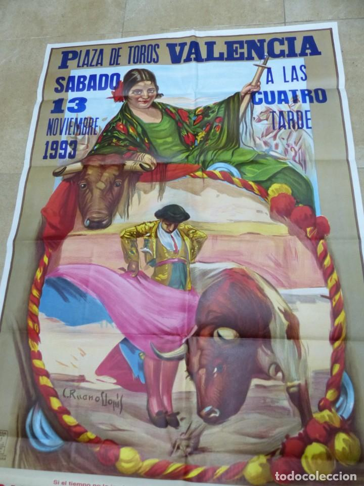 Carteles Toros: Valencia - Bonito Cartel Grande de Toros - Litografía - año 1993 - ilustrador: Ruano Llopis - Foto 2 - 151422082