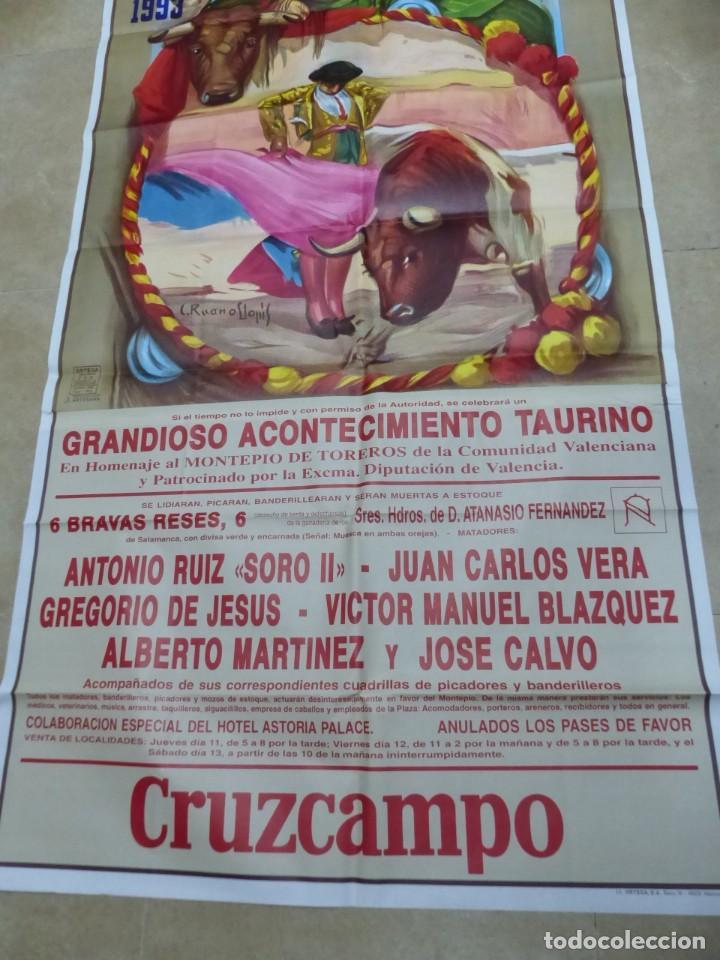Carteles Toros: Valencia - Bonito Cartel Grande de Toros - Litografía - año 1993 - ilustrador: Ruano Llopis - Foto 3 - 151422082