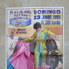 Carteles Toros: VALENCIA - BONITO CARTEL GRANDE DE TOROS - LITOGRAFÍA - AÑO 1993 - ILUSTRADOR: J. CROS ESTREMS. Lote 151422438