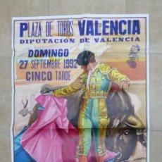 Carteles Toros: VALENCIA - BONITO CARTEL GRANDE DE TOROS - LITOGRAFÍA - AÑO 1992 - ILUSTRADOR: J. CROS ESTREMS. Lote 151422862
