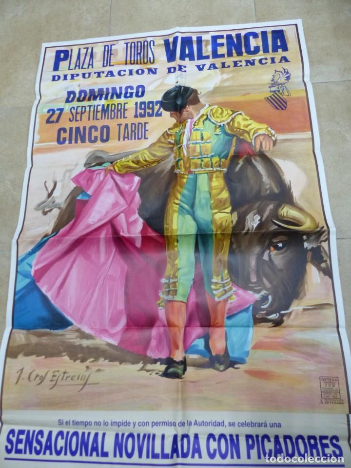 Carteles Toros: Valencia - Bonito Cartel Grande de Toros - Litografía - año 1992 - ilustrador: J. Cros Estrems - Foto 2 - 151422862