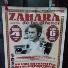 Carteles Toros: CARTEL. PLAZA DE TOROS DE ZAHARA DE LOS ATUNES. GRAN FESTIVAL TAURINO CON PICADORES. . Lote 161911789