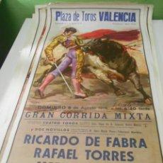 Carteles Toros: CARTEL TOROS VALENCIA 1978 ORIGINAL RICARDO FABRA RAFAEL TORRES ATIENZAR. Lote 151605078