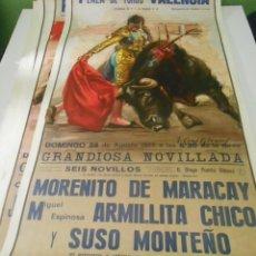Carteles Toros: CARTEL TOROS VALENCIA 1977 ORIGINAL MORENITO MARACAY MIGUEL ESPINOSA SUSO MONTEÑO ARMILLITA CHICO. Lote 151607422