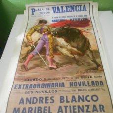 Carteles Toros: CARTEL TOROS ANDRES BLANCO ATIENZAR EL TONTO ORIGINAL 1979 PLAZA TOROS VALENCIA 1979 ESPAÑA SPAIN. Lote 151610482