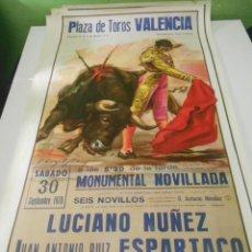 Carteles Toros: CARTEL TOROS VALENCIA ORIGINAL 1978 EMILIO MUÑOZ ESPARTACO LUCIANO NUÑEZ. Lote 151613966