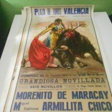 Carteles Toros: CARTEL TOROS 1977 MORENITO MARACAY ARMILLITA CHICO MONTEÑO ORIGINAL PLAZA TOROS VALENCIA ESPAÑA. Lote 151614586