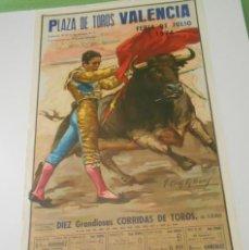 Carteles Toros: CARTEL TOROS VALENCIA ORIGINAL 1974 CURRO ROMERO PACO CAMINO PAQUIRRI NIÑO CAPEA PALOMO LINARES. Lote 152020418