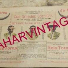 Carteles Toros: MALAGA, 1917, ESPECTACULAR CARTEL DE TOROS, JOSELITO EL GALLO, JUAN BELMONTE, VICENTE PASTOR,43X20. Lote 152269306