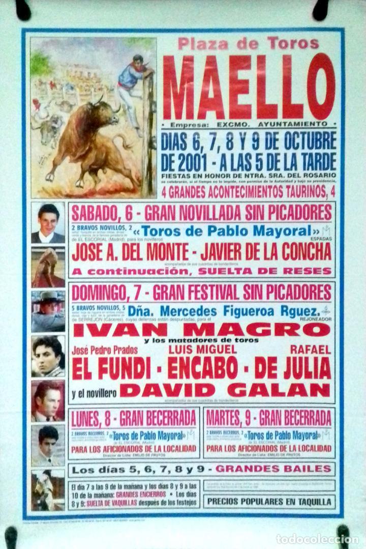 CARTEL. PLAZA DE TOROS MAELLO. 2001. LEER. (Coleccionismo - Carteles Gran Formato - Carteles Toros)