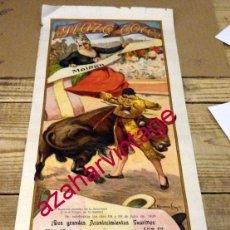 Carteles Toros: MALAGA, 1920, CARTEL TOROS FERIA, RAFAEL EL GALLO, JUAN BELMONTE, SANCHEZ MEJIAS, 485X210MM. Lote 152460182