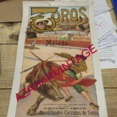 Carteles Toros: MALAGA, 1915, ESPECTACULAR CARTEL DE TOROS, JOSELITO EL GALLO Y BELMONTE, 215X490MM. Lote 152870166