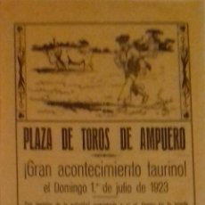 Carteles Toros: CARTEL. PLAZA DE TOROS DE AMPUERO. ( SANTANDER ) 1923. LEER.. Lote 153153530