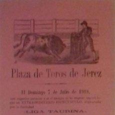Carteles Toros: CARTEL. PLAZA DE TOROS DE JEREZ DE LA FRONTERA 1918. LEER.. Lote 153153582