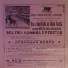 Carteles Toros: CARTEL. PLAZA DE TOROS DE JEREZ DE LA FRONTERA 1929. LEER.. Lote 153153614