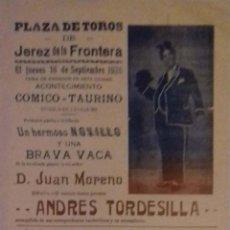 Carteles Toros: PLAZA DE TOROS DE JEREZ DE LA FRONTERA 1926. COMICO TAURINO. CHARLOT-FATIGON Y SU TONTO.1926.LEER.. Lote 153153650