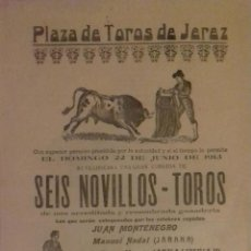 Carteles Toros: PLAZA DE TOROS DE JEREZ DE LA FRONTERA. 1913.LEER. . Lote 153153682