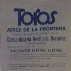 Carteles Toros: CARTEL.PLAZA DE TOROS JEREZ DE LA FONTERA 1931. LEER.. Lote 153153774