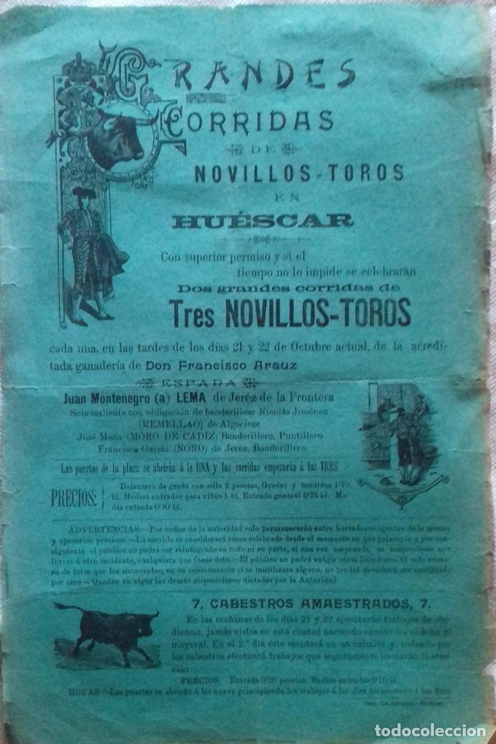 CARTEL.PLAZA DE TOROS HUESCAR ( GRANADA ) . LEER. (Coleccionismo - Carteles Gran Formato - Carteles Toros)
