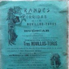 Carteles Toros: CARTEL.PLAZA DE TOROS HUESCAR ( GRANADA ) . LEER.. Lote 153164734
