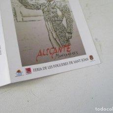 Carteles Toros: FOGUERES 2015 ALICANTE, MANZANARES-PROGRAMA DE MANO- TRÍPTICO. Lote 153477398