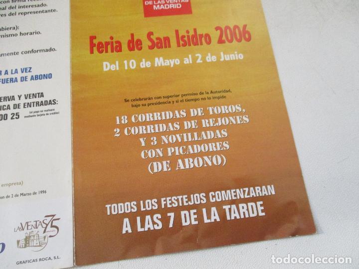 FERIA DE SAN ISIDRO 2006 -PROGRAMA DE MANO- TRÍPTICO (Coleccionismo - Carteles Gran Formato - Carteles Toros)