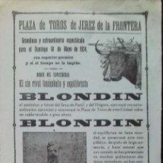 Carteles Toros: CARTEL. PLAZA DE TOROS JEREZ DE LA FRONTERA. 1924. LEER.. Lote 153518370