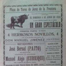 Carteles Toros: CARTEL. PLAZA DE TOROS JEREZ DE LA FRONTERA. 1924. LEER.. Lote 153519046