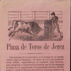 Carteles Toros: CARTEL. PLAZA DE TOROS JEREZ DE LA FRONTERA. 1918. LEER.. Lote 153520570