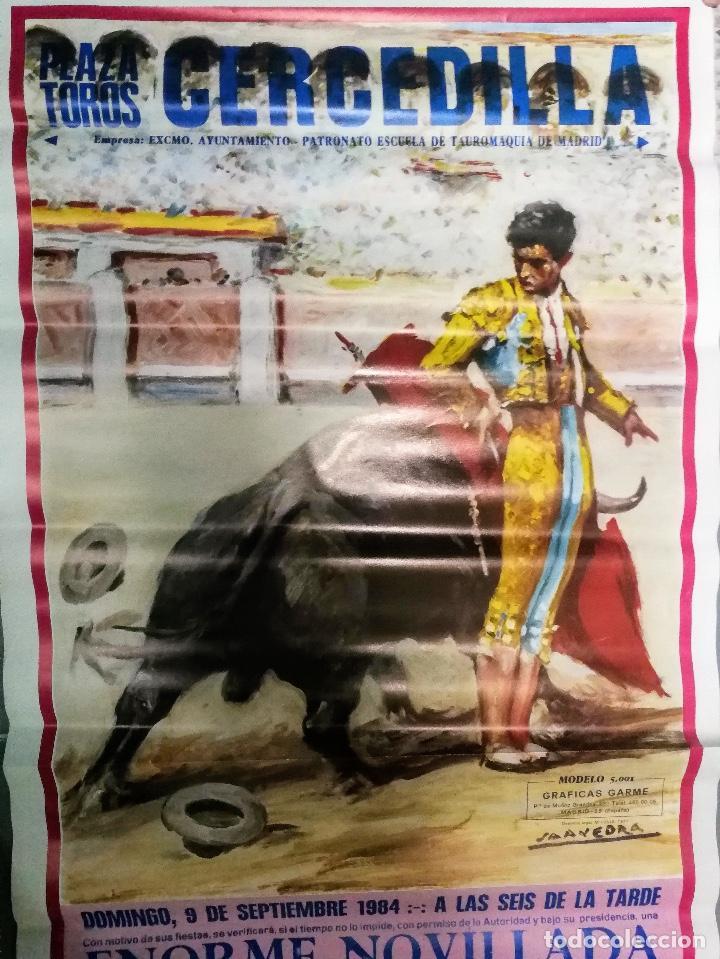 Carteles Toros: ANTIGUO Y BONITO CARTEL DE TOROS - CERCEDILLA - NOVILLADA - 1984 - CHICO LEAL, CAÑERO Y LUIS ARANDA - Foto 2 - 153591886