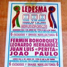 Carteles Toros: CARTEL TOROS LEDESMA - JUNIO DE 1994 - CORRIDA LANDESA CON TOREROS FRANCESES - NOVILLADA - REJONEO. Lote 153606862