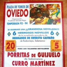 Carteles Toros: CARTEL TOROS EN OVIEDO - MARZO DE 1993 - NOVILLADA - PORRITAS, CURRO MARTÍNEZ Y NELSON VILLEGAS. Lote 153607138